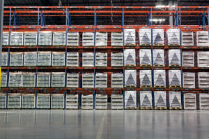 Frazier's Sentinel® Selective Pallet Rack stores pallets of products.