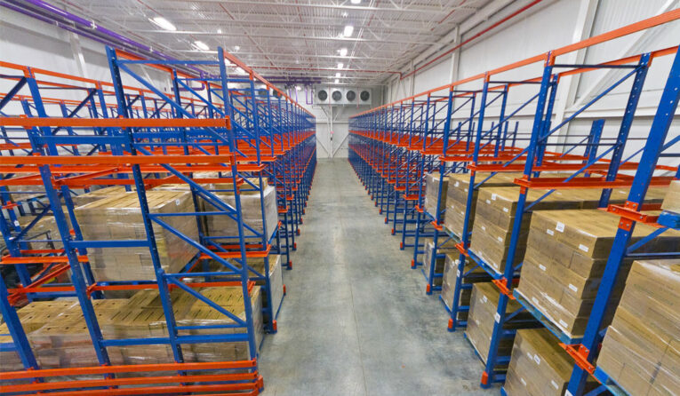 A Drive-In and Drive-Thru pallet rack system for a food application.