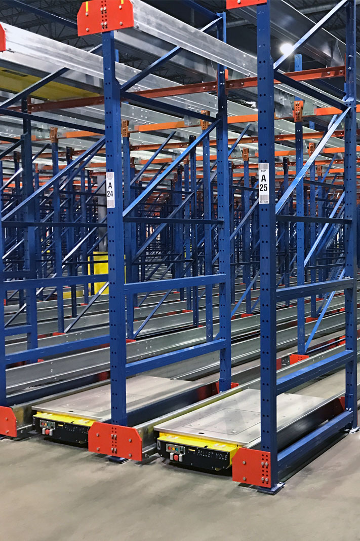 Pallet Mole® units in a rack system.